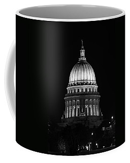 Wisconsin State Capitol Building At Night Black And White Coffee Mug