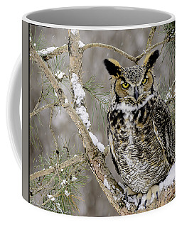 Wise Old Great Horned Owl Coffee Mug