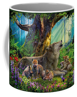 Wolf And Cubs In The Woods Coffee Mug