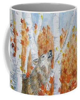 Coffee Mug featuring the painting Wolf Call by Ellen Levinson