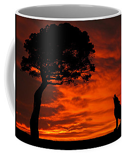 Wolf Calling For Mate Sunset Silhouette Series Coffee Mug