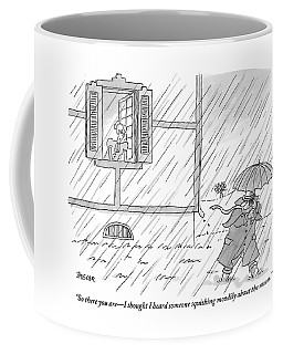 Woman Addresses A Man From The Window Of A House Coffee Mug