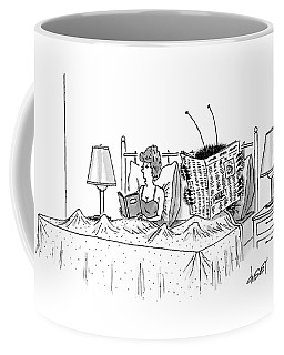 Woman And A Large Insect Read In Bed Coffee Mug
