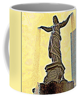 Woman And Flowing Water Sculpture At Fountain Square Coffee Mug by Kathy Barney