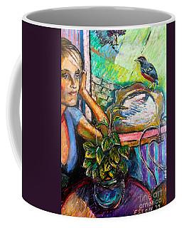 Woman And Robin Coffee Mug