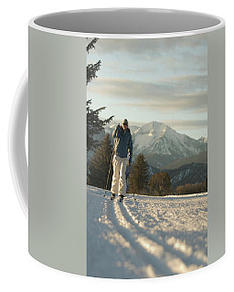 Woman Cross Country Skiing On Track Coffee Mug