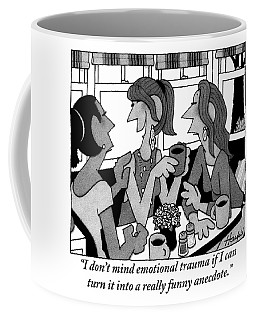 Woman Holding A Mug Of Coffee Speaking With Two Coffee Mug