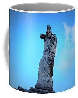 Woman Holding Cross Coffee Mug by Beth Vincent