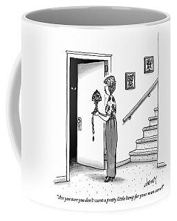 Woman Holding Lamp Stands At Dark Bedroom Doorway Coffee Mug