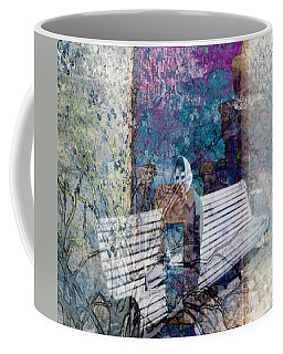Coffee Mug featuring the digital art Woman On A Bench by Cathy Anderson