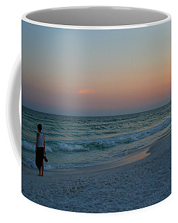 Woman On Beach At Dusk Coffee Mug