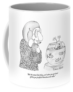 Woman On The Phone Looking At Her Fish Bowl That Coffee Mug