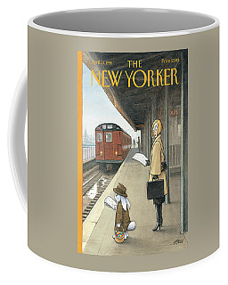 Woman On Train Platform Looking At Easter Bunny Coffee Mug
