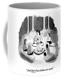 Woman Sitting Around Campfire With Four Children Coffee Mug
