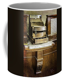 Coffee Mug featuring the photograph Wooden Bank Cash Register by Betty Denise