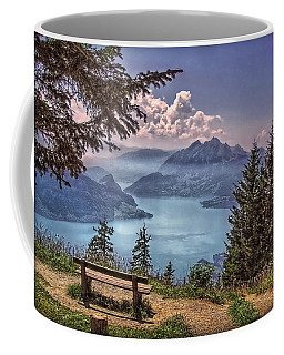 Coffee Mug featuring the photograph Wooden Bench by Hanny Heim