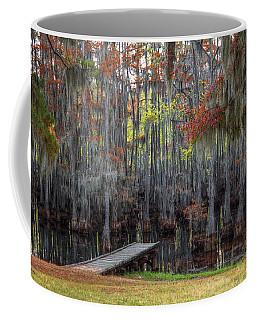 Wooden Dock On Autumn Swamp Coffee Mug
