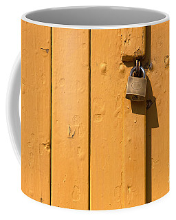 Wooden Plank Door Steel Lock Coffee Mug