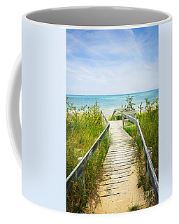 Wooden Walkway Over Dunes At Beach Coffee Mug