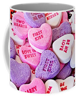 Coffee Mug featuring the photograph Valentine Candy Hearts by Vizual Studio