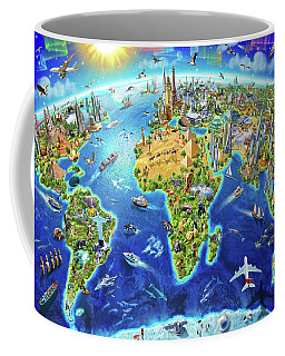World Landmarks Globe Coffee Mug