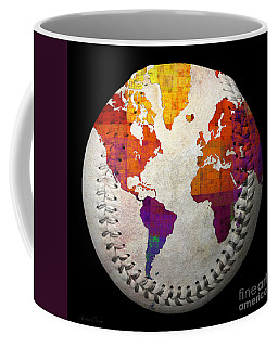 World Map - Rainbow Bliss Baseball Square Coffee Mug