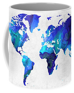 World Map 17 - Blue Art By Sharon Cummings Coffee Mug