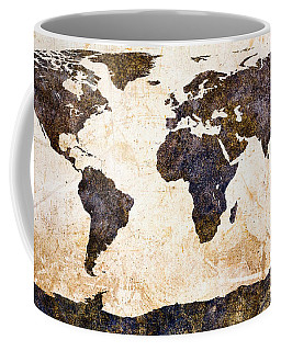 Coffee Mug featuring the painting World Map Abstract by Bob Orsillo