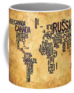 World Map Typography 6 Watercolor Painting Coffee Mug