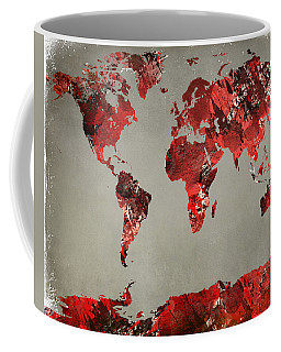 World Map - Watercolor Red-black-gray Coffee Mug by Paulette B Wright