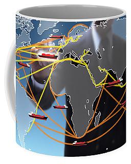 World Shipping Routes Map Coffee Mug