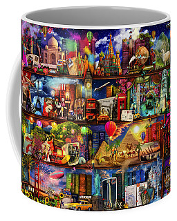 World Travel Book Shelf Coffee Mug