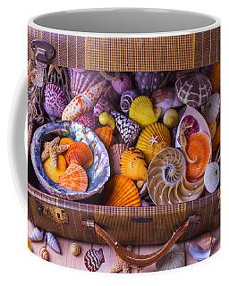 Worn Suitcase Full Of Sea Shells Coffee Mug