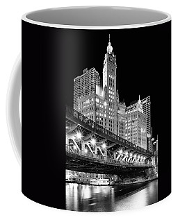 Wrigley Building At Night In Black And White Coffee Mug