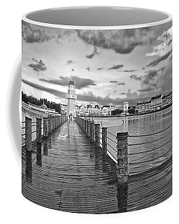 Yacht And Beach Lighthouse In Black And White Walt Disney World Coffee Mug