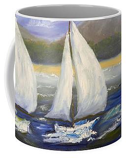Yachts Sailing Off The Coast Coffee Mug by Pamela  Meredith