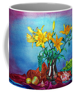 Yellow Lily In A Vase Coffee Mug