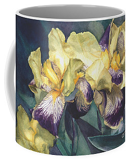 Watercolor Of A Tall Bearded Iris Painted In Yellow With Purple Veins Coffee Mug