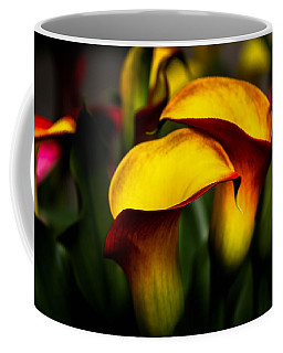 Yellow And Red Calla Lily Coffee Mug by Menachem Ganon