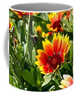 Yellow And Red Gaillardias And Bee Coffee Mug