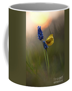 Yellow Butterfly On Grape Hyacinths Coffee Mug