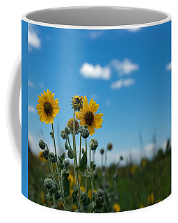 Yellow Flower On Blue Sky Coffee Mug by Photographic Arts And Design Studio