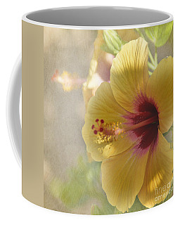 Yellow Hibiscus Coffee Mug by Peggy Hughes