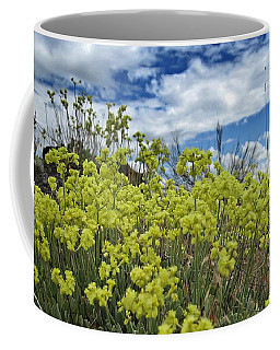 Coffee Mug featuring the painting Yellow Mountain Wildflowers by Jennifer Muller