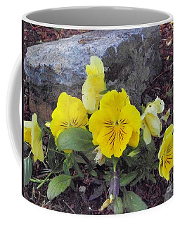 Coffee Mug featuring the photograph Yellow Pansies by Charles Robinson
