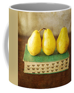 Yellow Pears And Vintage Green Book Still Life Coffee Mug