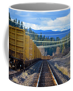 Yellow Train To The Mountains Coffee Mug