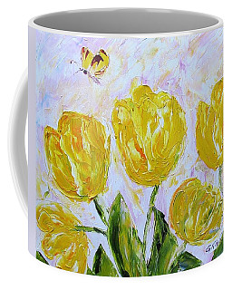 Yellow Tulips And Butterfly Coffee Mug