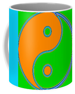 Yin Yang Orange Green Pop Art Coffee Mug by Eti Reid