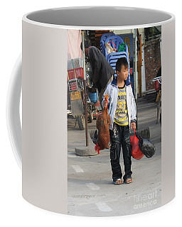 Young Boy Carrying A Dead Chicken To School Coffee Mug